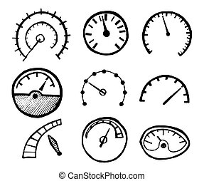 Collection of Hand Drawn Speedometer Icons Isolated on White...