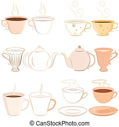Vector Illustration Collection Of Hand Drawn Teacups Saucer And Teapot With Outline