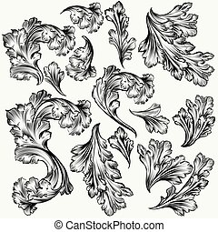 Collection of hand drawn vector filigree swirls for design