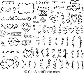 Collection of hand drawn vintage swirl ornaments full of hearts. Valentine's day special pack design elements.