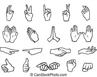 Collection of hand emoji gestures monochromic stickers