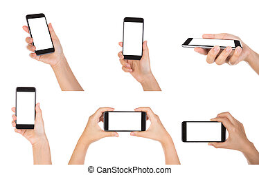 Collection of Hand holding mobile smart phone with blank screen
