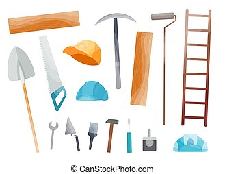 Collection of hand tool. Set of equipment for repair. Handyman tools. Isolated vector illustration in cartoon style. Tools set for kids builders