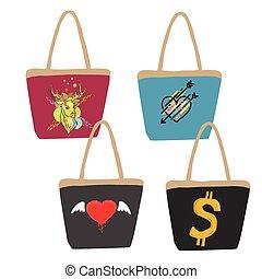 Collection of handbag vector