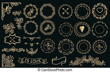 Collection of handdrawn gold laurels and wreaths.