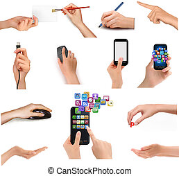 Collection of hands holding different business objects. ...