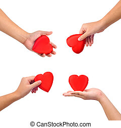 Collection of hands with heart isolated on white. These and...