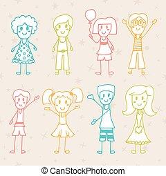 Collection of happy children. Hand drawn cartoon happy kids