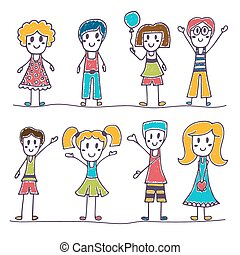 Collection of happy children. Hand drawn cute little kids