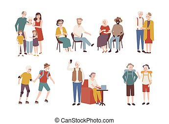 Collection of happy elderly people performing daily...