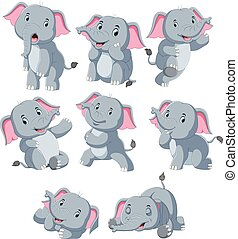 Collection of happy elephant with various posing