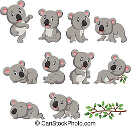 Collection of happy koala with various posing