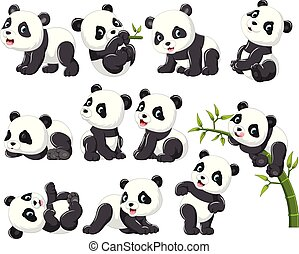 Collection of happy panda with various posing