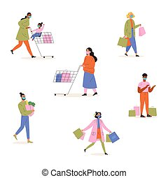 Collection of happy people shopping
