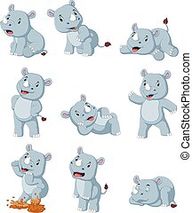 Collection of happy rhino with various posing