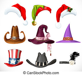 Collection of hats for a festive masquerade - halloween, new year, carnival isolated on white background