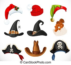 Collection of hats for a festive masquerade - Halloween, new year, carnival objects isolated on white background