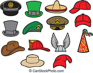 collection of hats, gaelic helmet with wings, military...