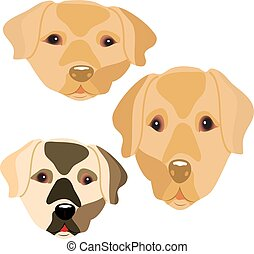 Collection of head of cute dogs, cartoon on white background.