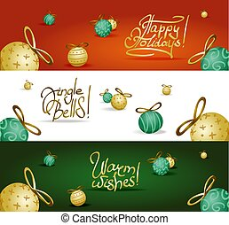 Collection of headers with xmas tree decoration