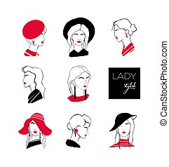 Collection of heads or faces of stylish lady with elegant hairstyles wearing various hats and earrings. Set of stylized outline portraits of young woman with trendy accessories. Vector illustration.