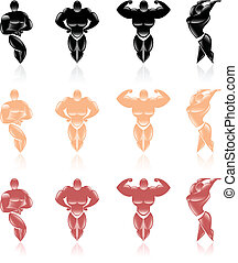 Collection of healthy male icons. Illustration on white...