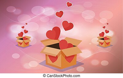 collection of heart in a box on valentine background