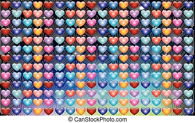 Collection of hearts in various design on abstract background