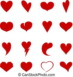 Collection of hearts of different shapes