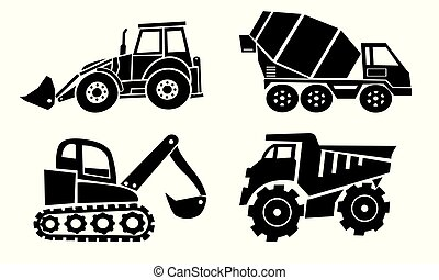 Collection of heavy trucks. Heavy-duty vehicles, designed...
