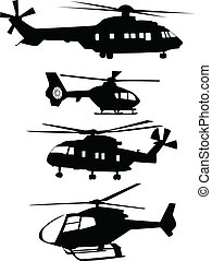 Collection of helicopters silhouettes - vector