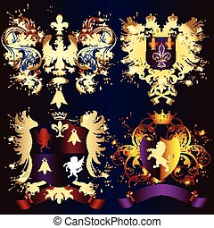 Collection of heraldic shields with
