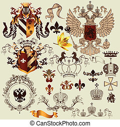 Collection of heraldry elements for - Vector set of luxury...