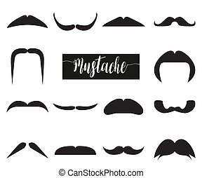 Collection of hipster black mustache. Vector illustration
