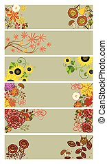 Collection of horizontal autumnal banners