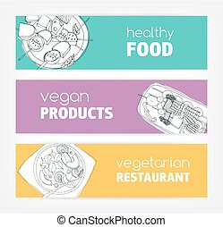 Collection of horizontal banner templates with monochrome vegan food hand drawn on bright colored background. Special offers and deals. Vector illustration for vegetarian restaurant advertisement.