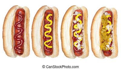 Collection of hotdogs - A collection of hotdogs with mustard...