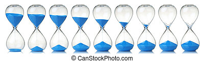Collection of hourglasses with blue sand showing the passage...