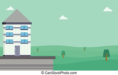 Collection of house landscape vector flat