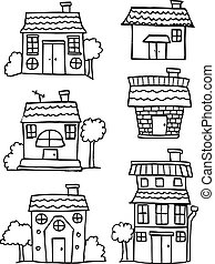 Collection of house set hand draw