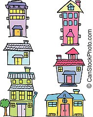Collection of house set vector art