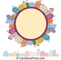 Collection of houses vintage on white background circle with city. vector