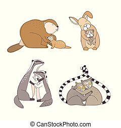 Collection of hugging cartoon animals isolated on white background - rabbit, beaver, ferret, guinea pig, lemurs, badgers. Bundle of cute embracing loving couples. Colorful vector illustration.