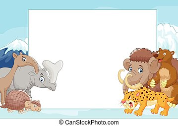 Collection of ice age animals - Vector illustration of...