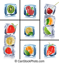 Collection of ice cubes with frozen fruits