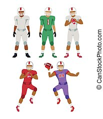 Collection of Icons of American Football Players