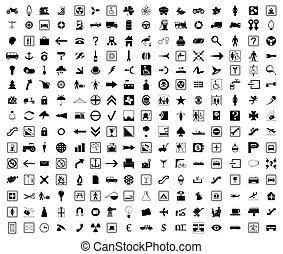 Collection of icons of black colour. A vector illustration