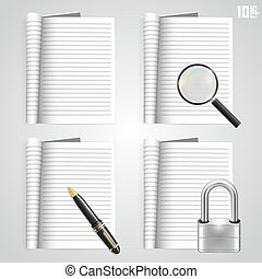 Collection of icons, open the paper journal