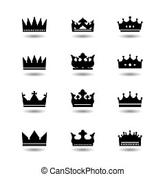 Set of vector black crowns