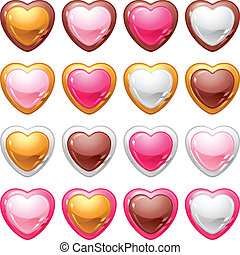 Collection of icons with a shiny, glossy hearts.